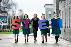 Gillian Keating, Co-founder of I Wish STEM is pictured with Eanna Ferguson, Kim Connolly, Caoimhe Totterdell, Siofra Drohan all from Holy Child School, Kiliney, Co. Dublin at the I Wish STEM showcase at the RDS Dublin which will see 3,000 transition year girls experience science, technology, engineering and maths (STEM) hearing from female role models in STEM and visiting a STEM industry showcase, entrepreneurs zone and teacher zone for teachers. The event has already rolled out in Cork where 2000 transition year girls attended. Picture by Shane O'Neill, SON Photographic