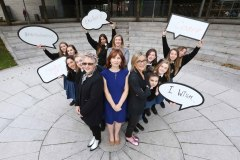 NO REPRO FEE 06/10/2016. Pictured are (LtoR)  IWish founders Caroline O'Driscoll, Ruth Buckley and Gillian Keating with students from St Finians C.C Swords at the launch of the IWish-the STEM event for girls-in Dublin. IWish is an initiative to inspire and encourage young women to pursue careers in STEM, which is going nationwide in 2017 with events in Cork City Hall 9 and 10th February and in the RDS Dublin on 13 and 14 February.  Schools. Photography: Sasko Lazarov/Photocall Ireland